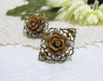 Embellished Antique Brass Filigree Mum Studs with Surgical Steel Posts in Chocolate Latte