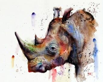 RHINO Watercolor Print, Wildlife Art by Dean Crouser
