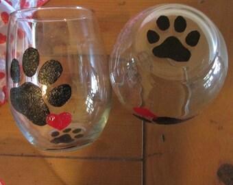 Paw Print Stemless Wine Glass Juice Heart Rhinestone Hand Painted