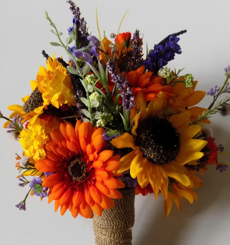 Sunflower Wedding Bouquet Ideas: Wildflower Wedding Bouquet Sunflower Bridal Bouquet