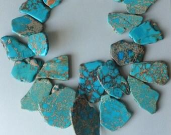 Chunky Necklace, Aqua blue Sea Sediment Jasper, Blue Necklace, Handmade Necklace, Statement Necklace, Sterling Silver, Made in USA