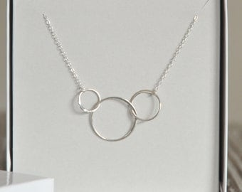 Infinity Necklace, Sterling Silver, Circle Links, Three Circles, Triple Link, Dainty Necklace,Birthday Gift,Bridesmaid Gift
