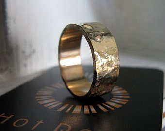Gold on Gold  Mens Wedding Band Hot Rox