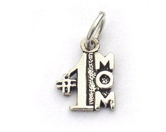 Sterling Silver #1 Mom Small Charm 21mm x 9mm