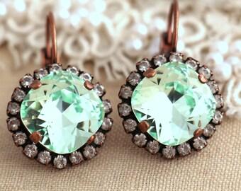 Mint Earrings,mint drop earrings,Mint dangle earrings,Mint swarovski Earrings,Mint clear earrings,Bridal Earrings,Bridesmaids earrings
