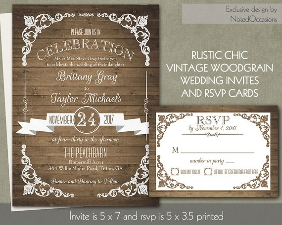 Rustic Chic Barn Wood Wedding Invitation | Country Chic banners Trendy Fonts DIY Digital printable Rustic Wedding Invitation Cottage Chic