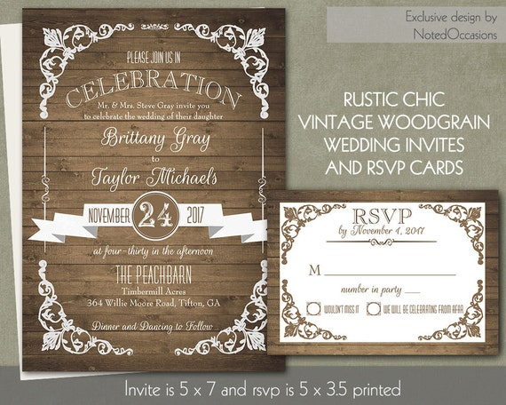 Country Rustic Wedding Invitations: Rustic Chic Barn Wood Wedding Invitation By NotedOccasions