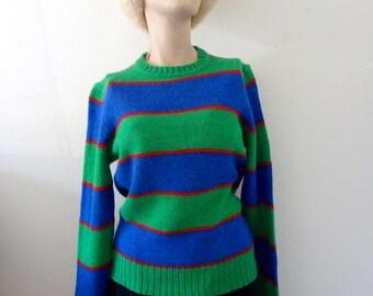 1980s Wool Sweater - wide striped knit top - preppy vintage fall & winter fashion