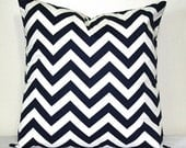Navy Blue and White Chevron 18 inch Decorative Pillow Accent Pillow Throw Pillow Cushion Cover Home Decor