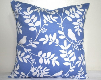 Blue and White Bird Pillow, 18 x 18 inch Cotton Decorative Throw Pillow, Accent Cushion Cover