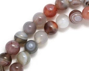 Botswana Agate Beads - 6mm Round - Half Strand