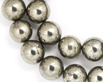 Pyrite Beads - 10mm Round - Full Strand