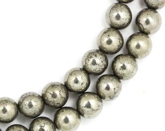 Pyrite Beads - 6mm Round - Half Strand