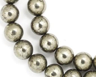 Pyrite Beads - 8mm Round - Full Strand