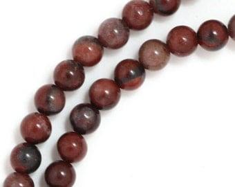 Red Picture Jasper Beads - 4mm Round