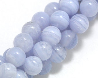 Blue Lace Agate Beads - 6mm Round