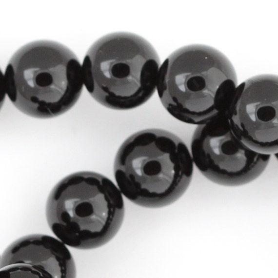 Black Onyx Beads - 10mm Smooth Round - Half Strand