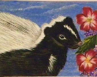 ACEO Painted Skunk Pepe la Pew black white hibiscus blue pink flower