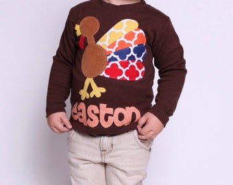 Thanksgiving Shirt for Boys, Turkey Shirt, Personalized Turkey Shirt - You Choose Shirt Color and Sleeve Length