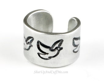 Dove Ear Cuff - Aluminum Stamped Ear Cuff