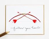 Follow Your Heart 4 card set, bow arrow love birthday