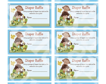 """Printable """"Curly Tails Monkey"""" Diaper Raffle Tickets Instant Digital Download"""