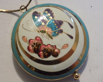 Vintage pendant, cloisonne enamel butterfly and floral turquoise and gold pendant, vintage jewelry