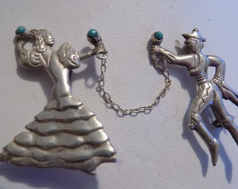 """Antique brooches, sterling silver Mexican Flamenco dancers, signed """"JPL"""" with turquoise marencas, collectible jewelry"""