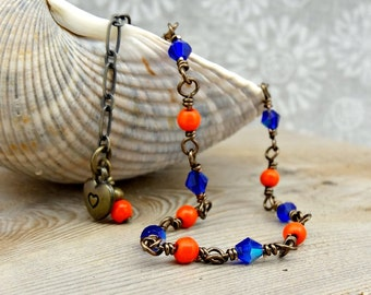 Blue Orange Anklet, Heart Charm, Dainty Beaded Anklet, Bronze Multi Color Ankle Bracelet, Wire Wrapped Bead Jewelry