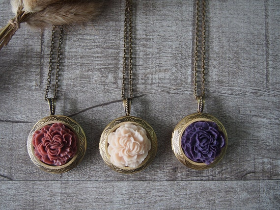 Peony Flower Locket Necklace Brass Locket Flower Necklace 10947