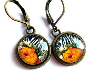 Zebra Print Orange Flower Earrings Fashion Jewelry