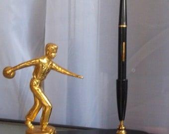 Bowling Trophy Fountain Pen Set, League Champions, Scott Air Force Base, 1956, Vintage Home Office Decor