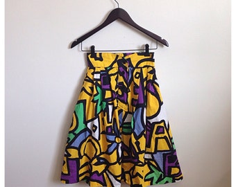 Vintage 1980s high waisted abstract pattern skirt