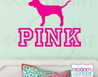 Victoria's Secret PINK logo with Dog Vinyl Wall Decal Couture Fashion VS