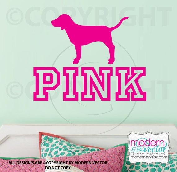 victorias secret pink logo with dog vinyl wall decal