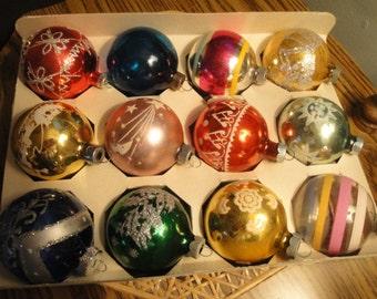 Twelve Mercury Glass Ornaments