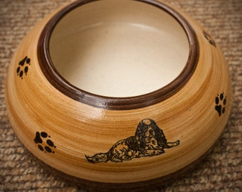 ADVANCE ORDER: Cavalier Spaniel, Tan and Brown Ear Bowl with Paws (Small/Medium)
