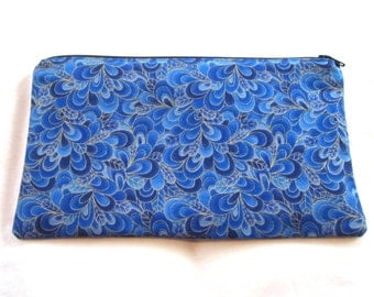 Blue and Gold Fabric Zipper Pouch / Pencil Case / Make Up Bag / Gadget Sack