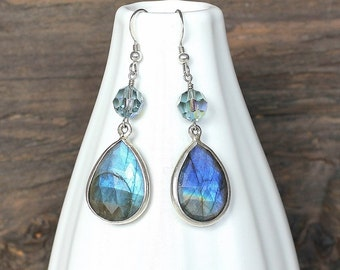 Labradorite earrings, handmade labradorite earrings
