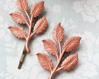 Pink Copper Branch Bobby Pins Leaf Hair Pins Nature Hair Accessories Woodland Wedding Forest Rose Gold Tone Leaves Hair Slides