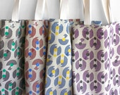 Fresh hand-printed market tote bags, carry your groceries in style!