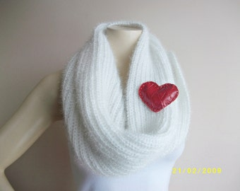 Valentine Scarf- Hand Knitted Neckwarmer-White Infinity Scarf -White Cape-Vegan Scarf