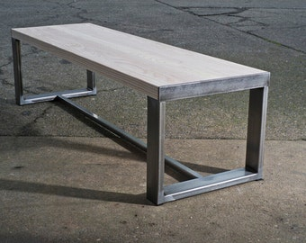Ash Top Bench with metal legs
