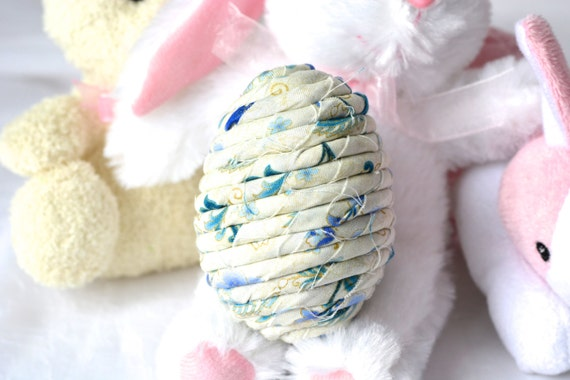 Easter Egg Ornament, Handmade Blue Easter Egg Decoration, Easter Egg Hunt, Hand Coiled Fiber Easter Egg, Blue China Easter Egg