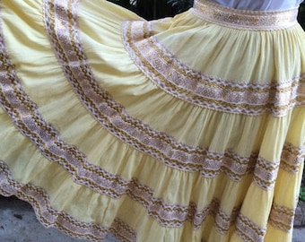 Bohemian, Gypsy, Hippie, Country, Patio, Southwestern, 1960's Squaw Skirt Yellow Embroidered