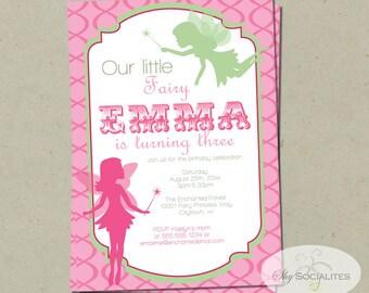 Pink & Green Fairy Invitation | Fairy Princess, Fairy Birthday, Girls Birthday, Pixies, Pink, Green | PDF Instant Download