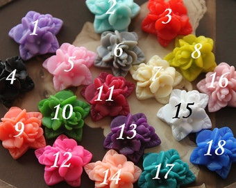 10pcs Wholesale Beautiful Mix Colorful Ruffle Rose Flower Resin Cabochon   -18colors  -17x15mm(CAB-NA -MIXSS )