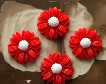 10pcs  Wholesale Beautiful Mix Colorful Daisy Flower Resin Cabochon  -   -22mm(CAB-BU -18)