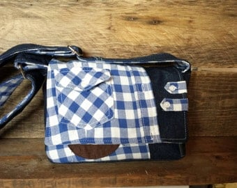 Small messenger bag made from recycled fabrics jeans blue plaid