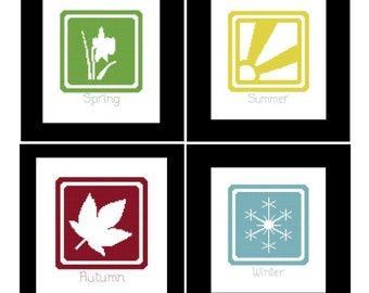 Four Seasons Cross Stitch Pattern - PDF File - Set of 4, Modern Cross Stitch, Counted Cross Stitch